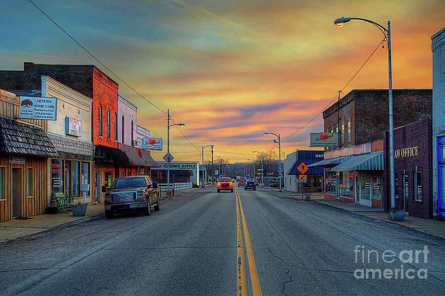 Travel Photograph - Looking Down Main Street at Sunset by Larry Braun