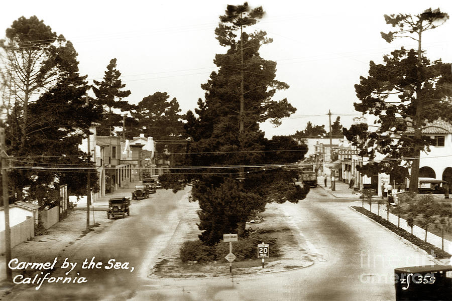 Looking down Ocean Avenue Carmel Dairy 1933 by California Views Archives Mr Pat Hathaway Archives