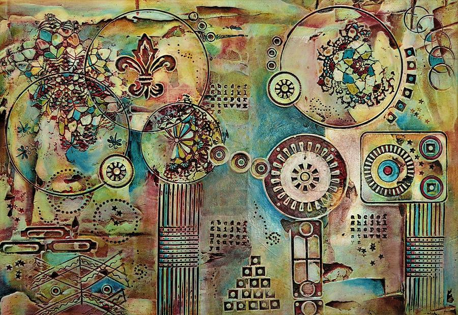 Abstract Mixed Media - Looking Forward by Pam Veitenheimer
