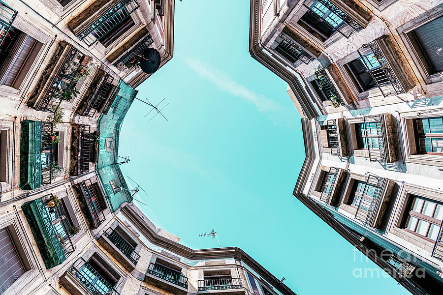 Looking Up, Low Angle Perspective, Travel Print, Barcelona Gothic Quarter, Buildings Architecture Photograph
