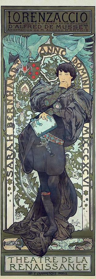 Art Nouveau Style Painting - Lorenzaccio 1896 Mucha Theatre Poster by Alphonse Mucha