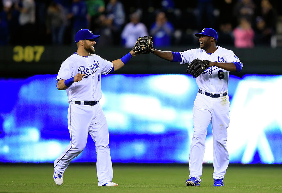 Lorenzo Cain and Alex Gordon Photograph by Jamie Squire