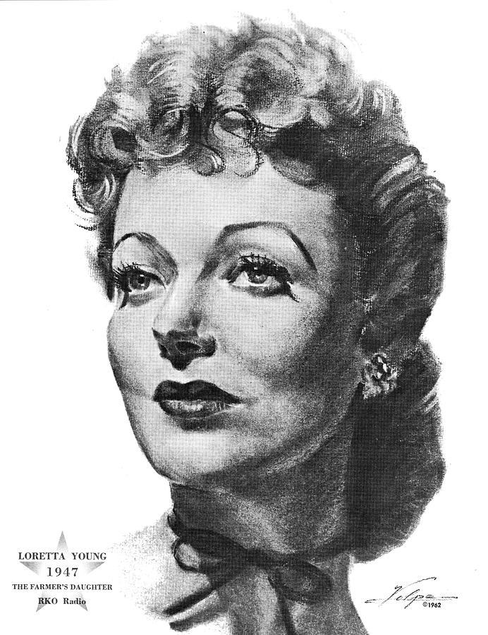 Loretta Young By Volpe Drawing