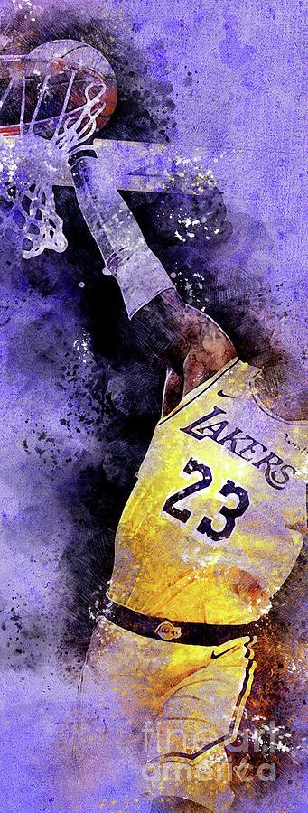 Los Angeles Lakers 23 Basketball Team, Nba Players,sport Prints Drawing