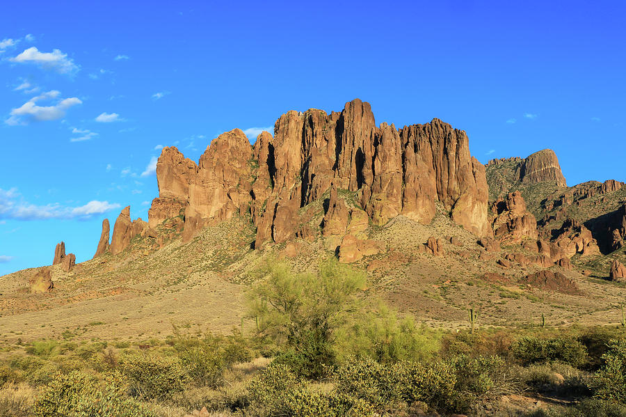 Lost Dutchman View of Superstition Mountains with Flatiron Mount by Dawn Richards