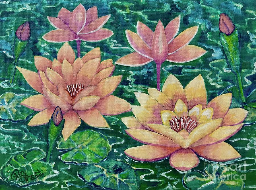 Lotus In The Emerald Pond Painting