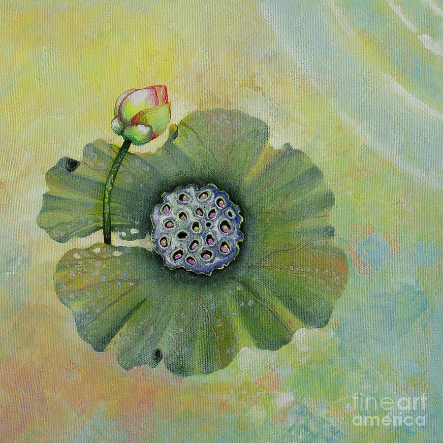 Lotus Painting - Lotus pool. 4th of 4 parts  by Yuliya Glavnaya