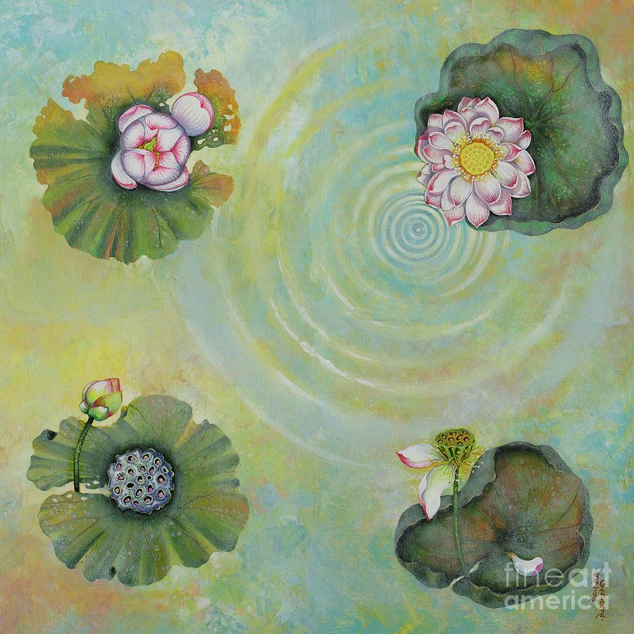 Lotus Painting - Lotus pool by Yuliya Glavnaya