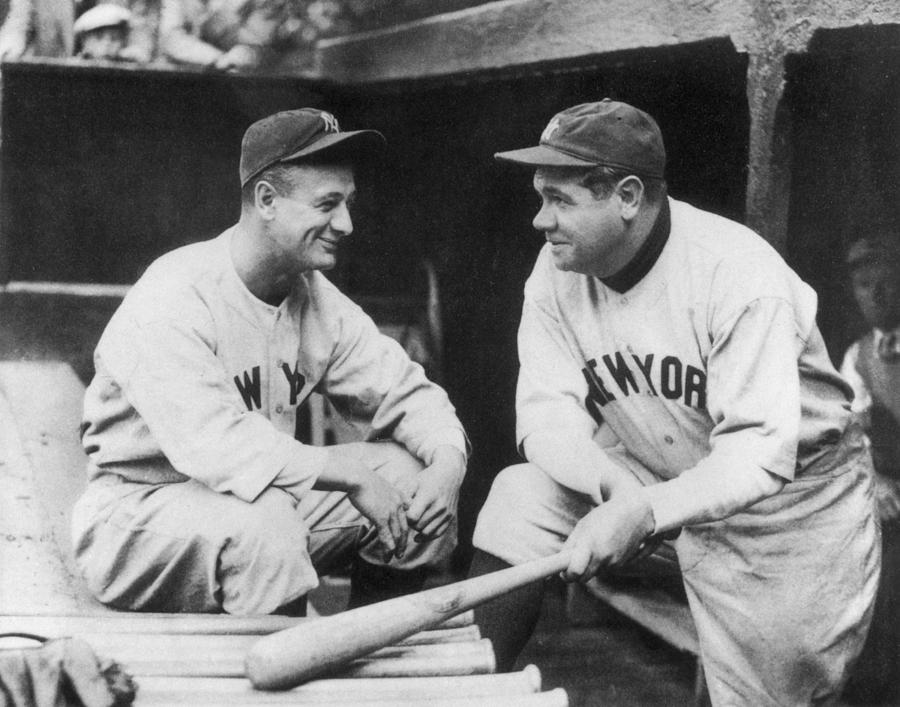 American Culture Photograph - Lou Gehrig and Babe Ruth by Mpi