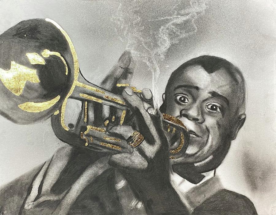 Louis Armstrong Drawing - Louis Armstrong by Nadija Armusik