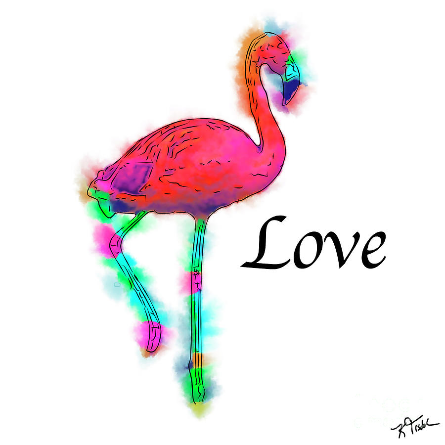 Flamingo Digital Art - Love - Abstract Flamingo Step by Kirt Tisdale