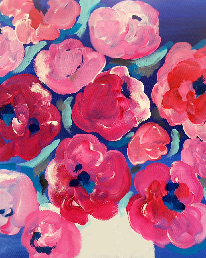 Abstract Flowers Painting - Love by Beth Ann Scott