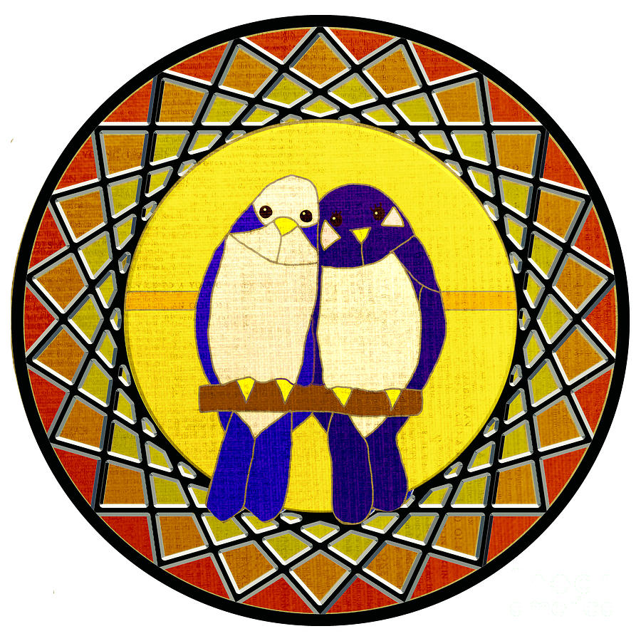 Love Birds Stained Glass by Priscilla Wolfe
