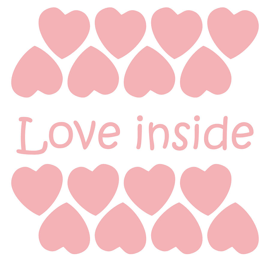 Text Digital Art - Love inside text with pink hearts  by Elena Sysoeva