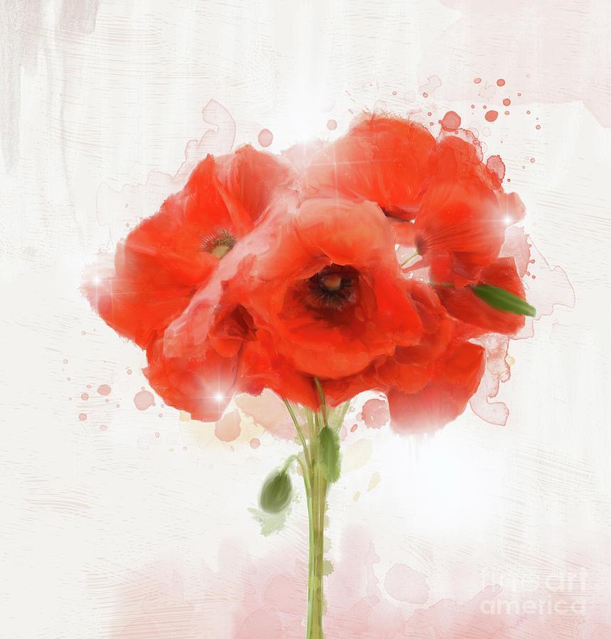 Love Is A Bunch Of Poppies Digital Art