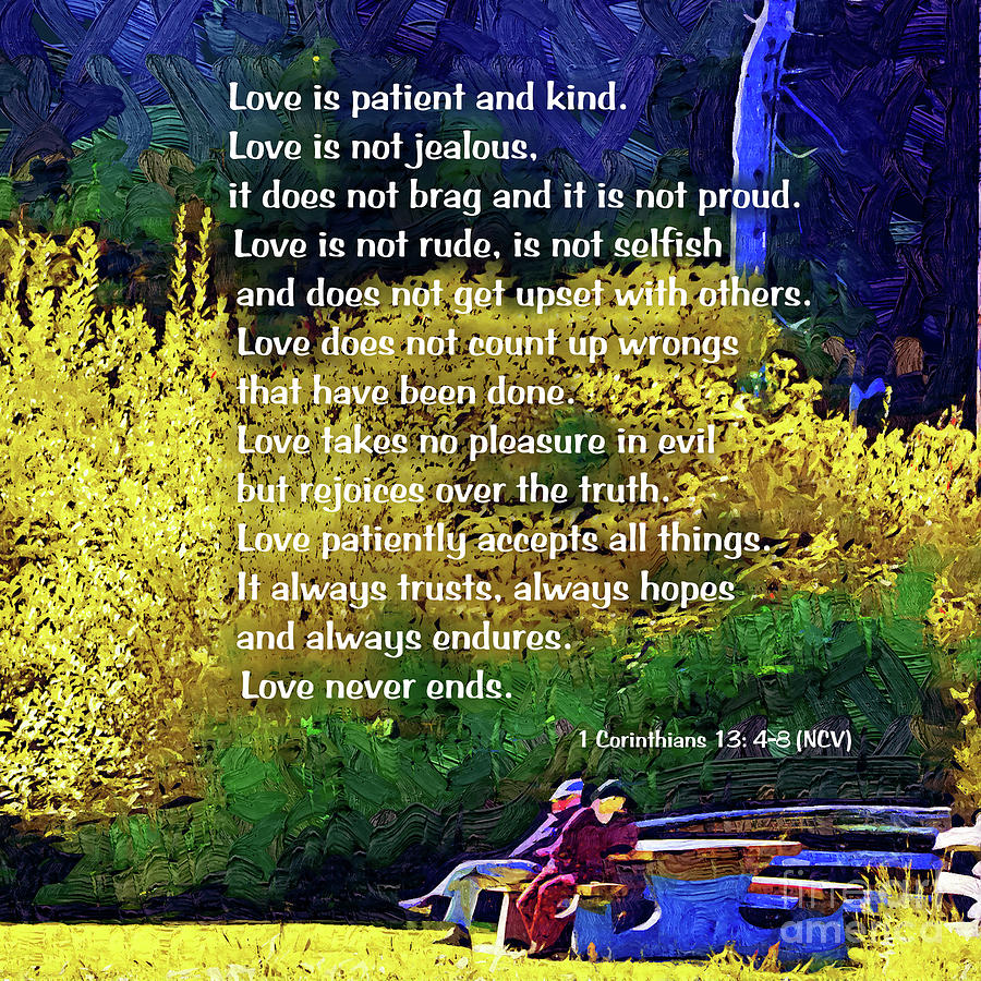 Whistler Digital Art - Love Is Patient - Couple In The Park by Kirt Tisdale