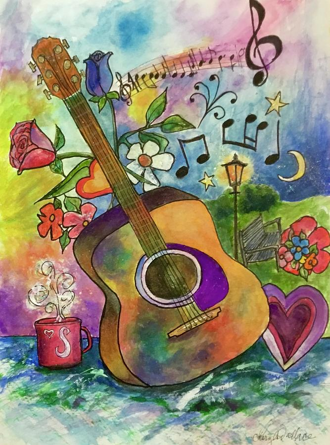 Guitar Painting - Love Song and Latte by Cheryl Wallace