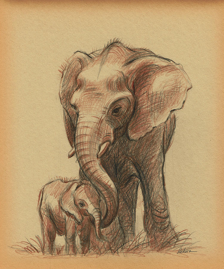 Elephants Drawing - LOVE YOU FOREVER - Mama and Baby Elephant Drawing by Rebecca Rees