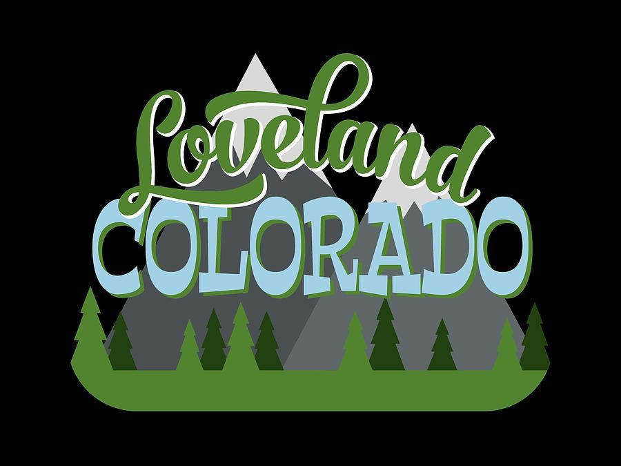 Loveland Digital Art - Loveland Colorado Retro Mountains Trees by Flo Karp