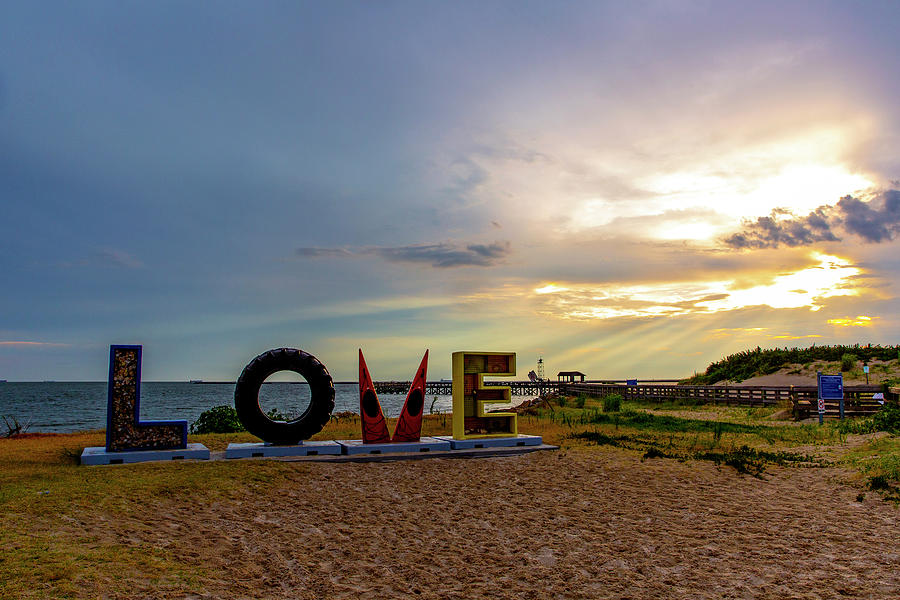 Sunset Photograph - LOVEwork at Sunset in Cape Charles by Amy Jackson