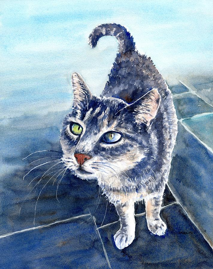 Loving Gray Kitty by Carlin Blahnik CarlinArtWatercolor