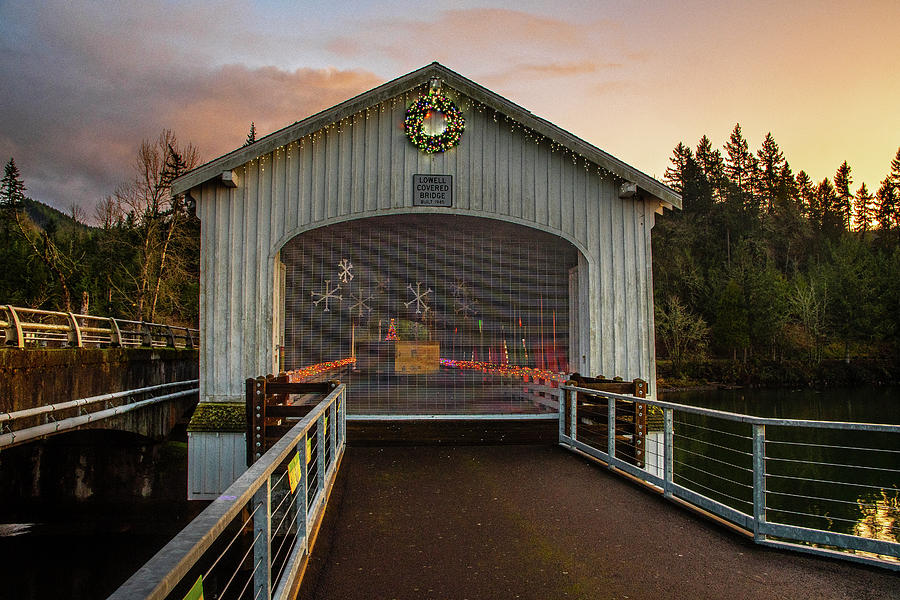 Lowell Covered Bridge at Christmas by Matthew Irvin