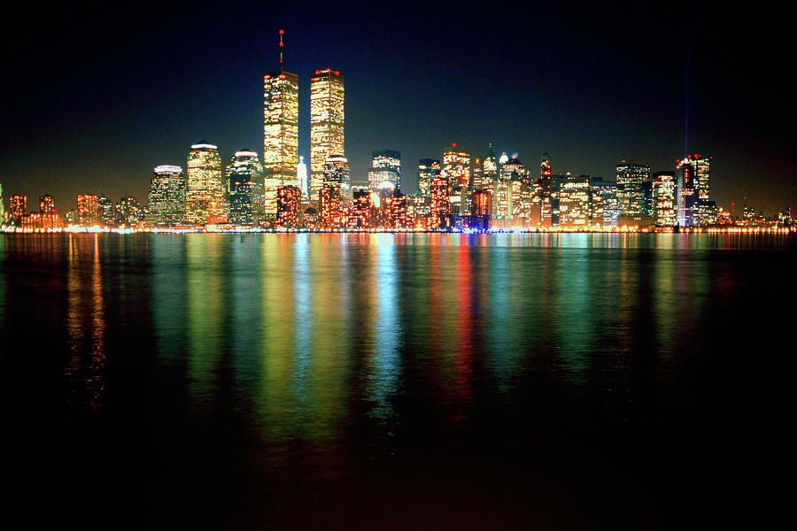 World Trade Center Twin Towers Lower Manhattan New York City Nighttime Cityscape 1985 Photograph By Kathy Anselmo