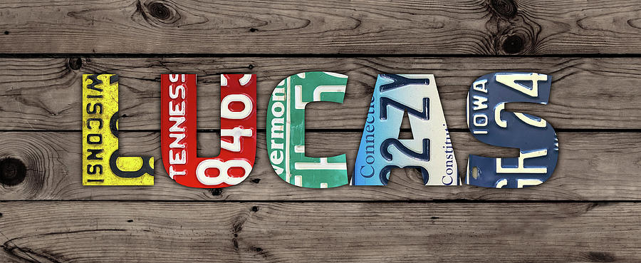 Lucas Mixed Media - Lucas Name Vintage License Plate Art Lettering Sign by Design Turnpike