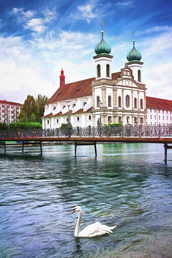 Lucerne Switzerland Swan Lake Photograph