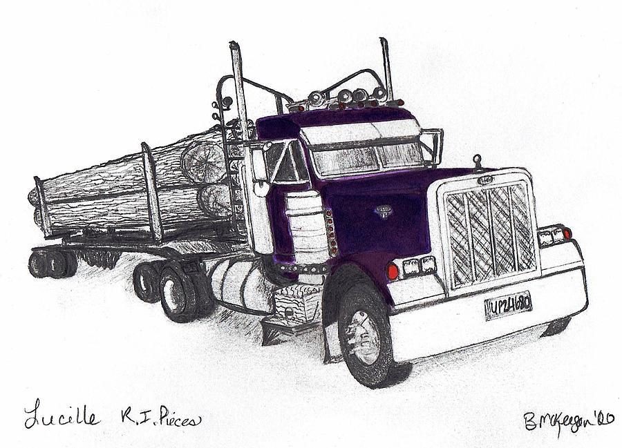Logging Truck Mixed Media - Lucille R.I.Pieces by Bonnie McKeegan