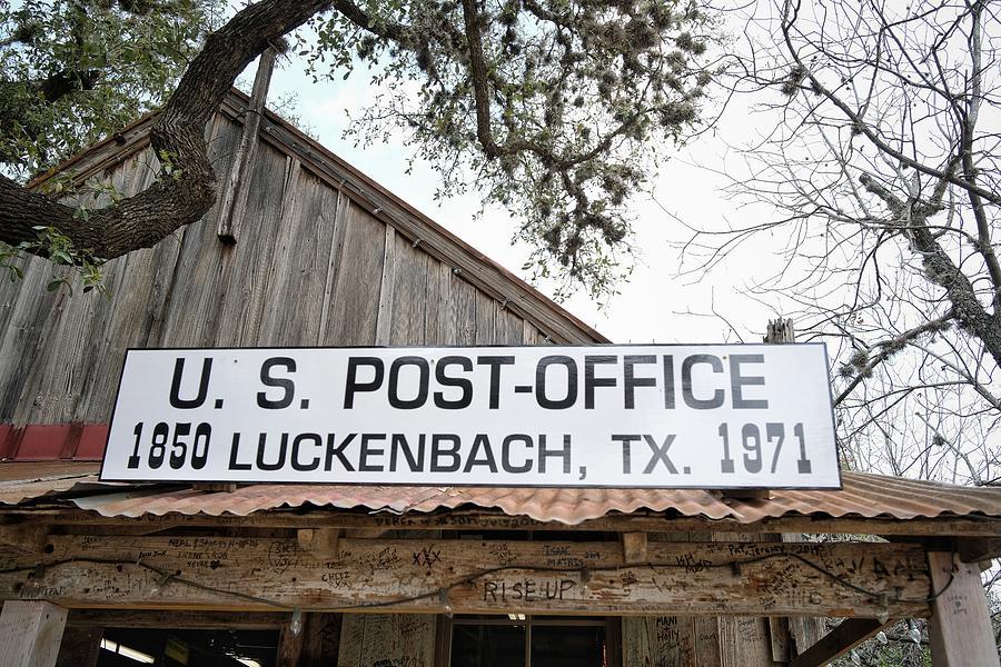 Luckenbach Post Office Sign Photograph
