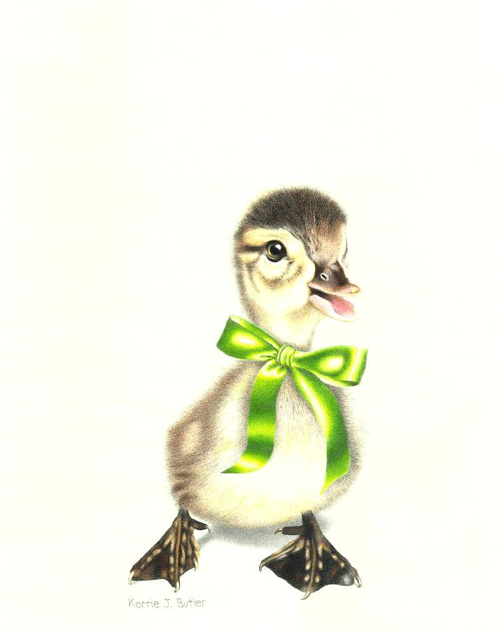 Duckling Drawing - Lucky Little Duckling by Karrie J Butler