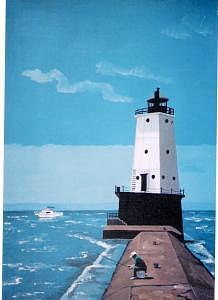 Ludington Lighthouse Painting by David Ellis