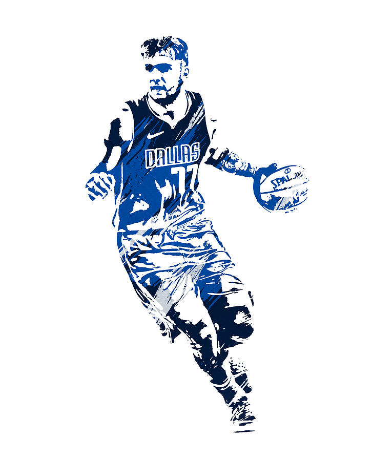 LUKA DONCIC DALLAS MAVERICKS WATERCOLOR STROKES PIXEL ART 1 by Joe Hamilton