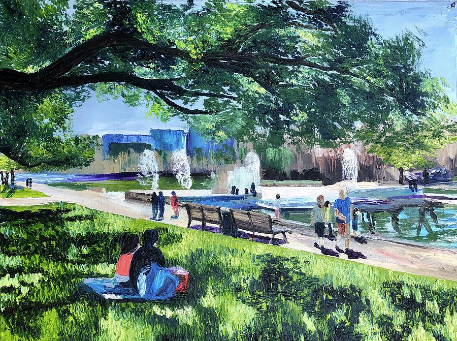 Park Painting - Lunch at Hermann Park by Lauren Luna