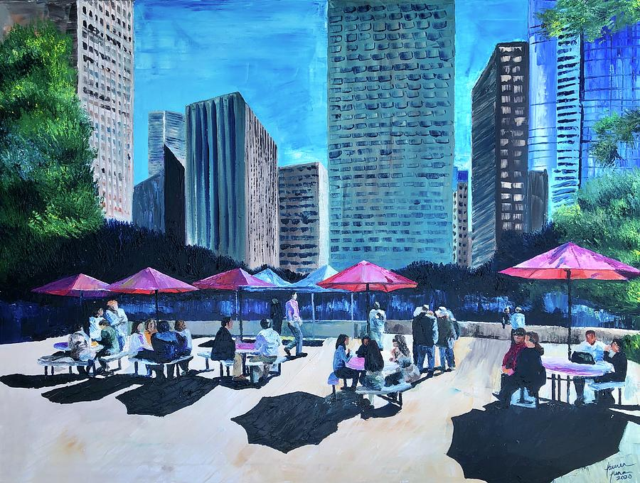City Hall Painting - Lunch with Titans by Lauren Luna