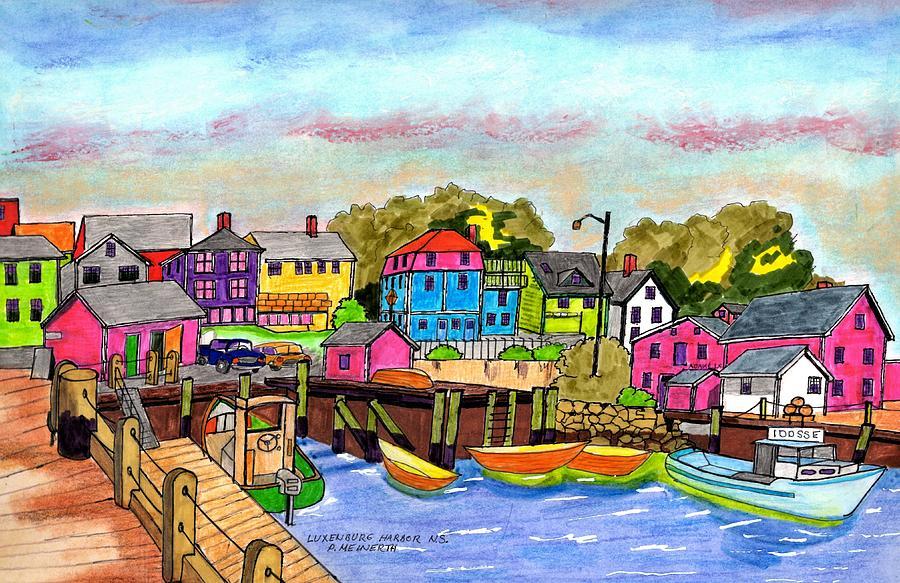Lunenburg Harbor  Ns Drawing