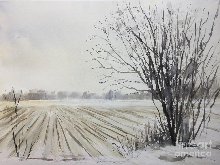 Winter Painting - Lynden farm in winter by Watercolor Meditations