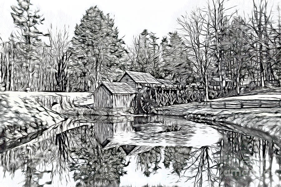 Mabry Mill Along The Blue Ridge Parkway - Sketch Style Photograph