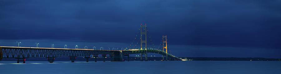 Mackinac Bridge Nighttime Panorama Photograph