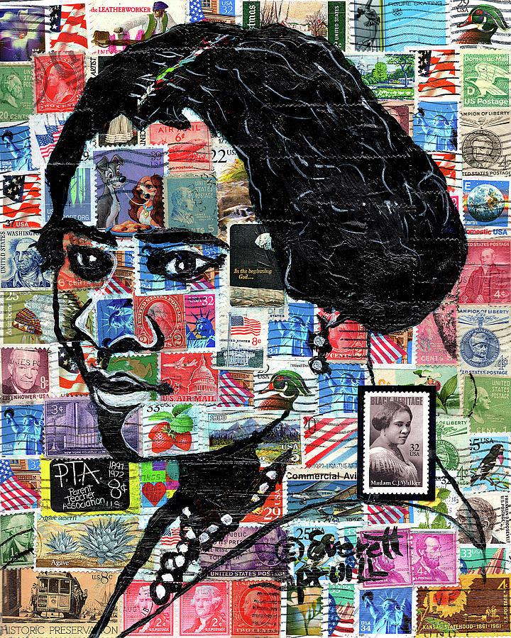 African Mask Mixed Media - Madam C.J. Walker by Everett Spruill