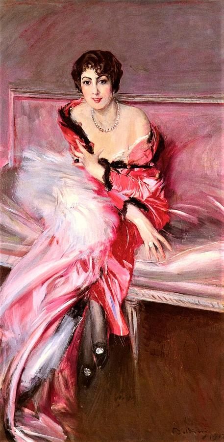 Lady Painting - Madame Juillard in red by Roberto Prusso