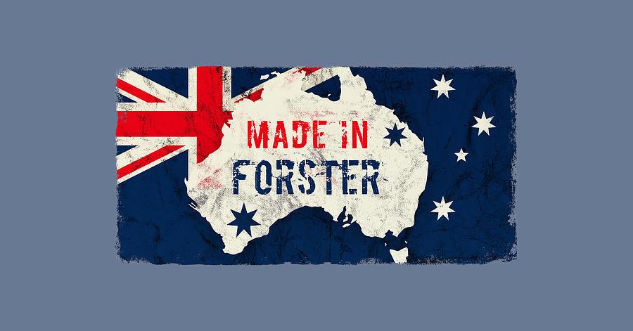 Forster Digital Art - Made In Forster, Australia by TintoDesigns