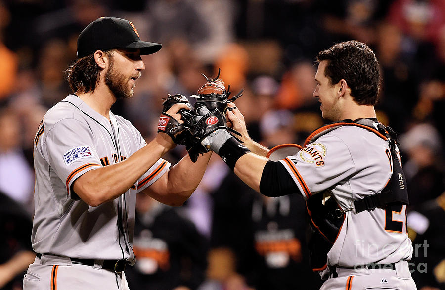 Madison Bumgarner and Buster Posey Photograph by Jason Miller