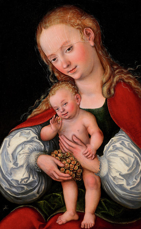 Lucas Cranach The Elder Painting - Madonna And Child With Grapes, 1537 by Lucas Cranach the Elder