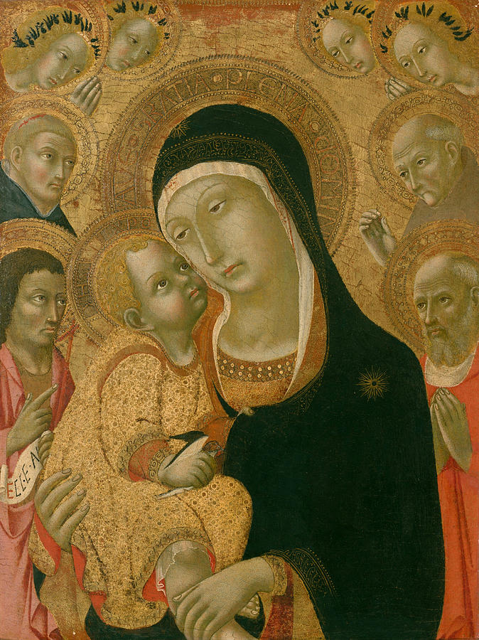Madonna and Child with Saints John the Baptist, Jerome, Peter Martyr, and Bernardino and Four Angels by Sano di Pietro