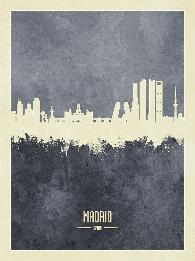 Madrid Digital Art - Madrid Spain Skyline #60 by Michael Tompsett