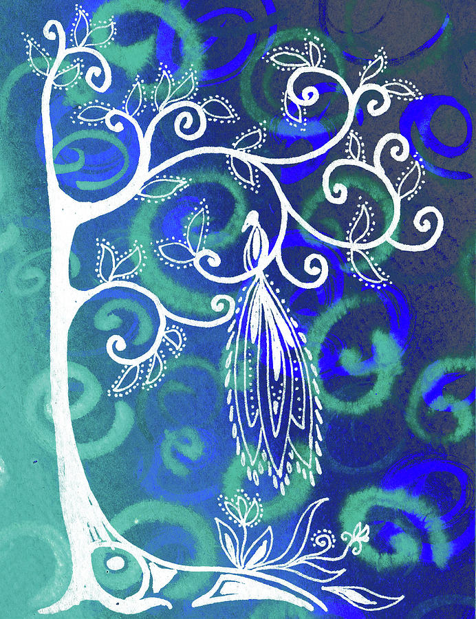 Magical Bird On Whimsical Tree Teal Blue Artwork Painting