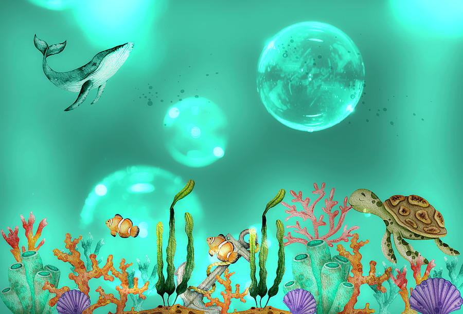 Magical Moments On The Secret Coral Reef Mixed Media