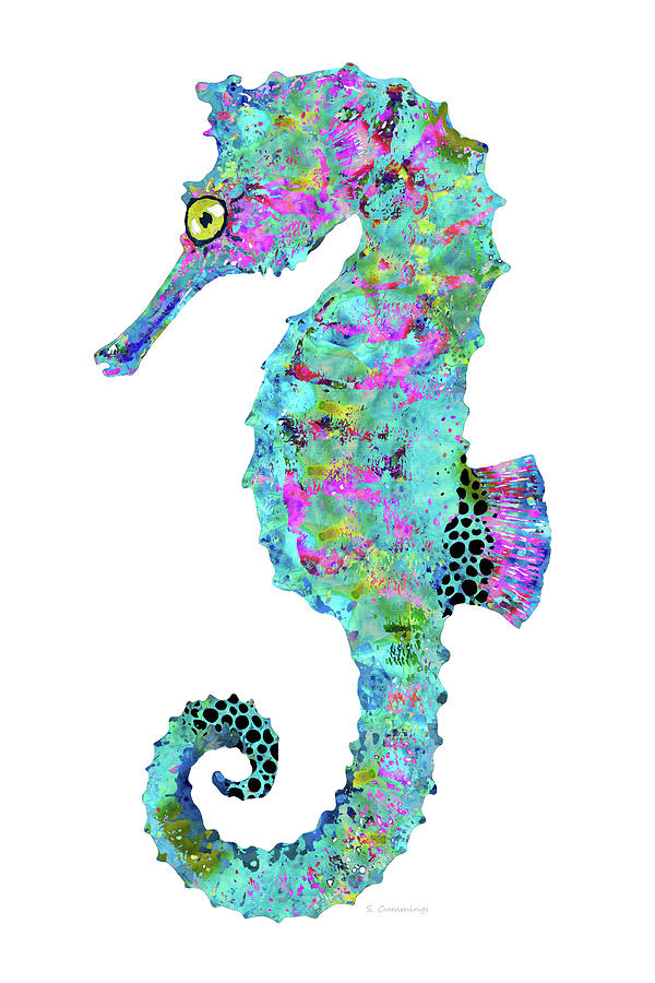 Mandala Painting - Magical Seahorse - Beachy Beach Art - Sharon Cummings by Sharon Cummings